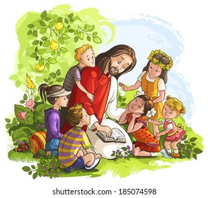 Jesus reading the Bible with Children. Also available raster and coloring book version