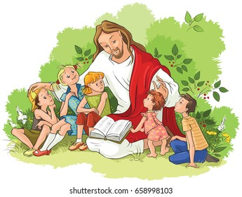 Jesus reading the Bible to children. Also available coloring book version