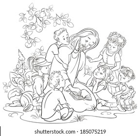 Jesus reading the Bible with Children. Coloring page. Also available colored version