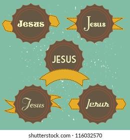 jesus retro label vector illustration