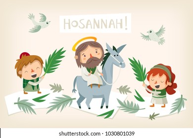 Jesus riding a donkey entering Jerusalem. People greeting him with palm branches and shouting Hosannah. Biblical easter story illustration. Vector.