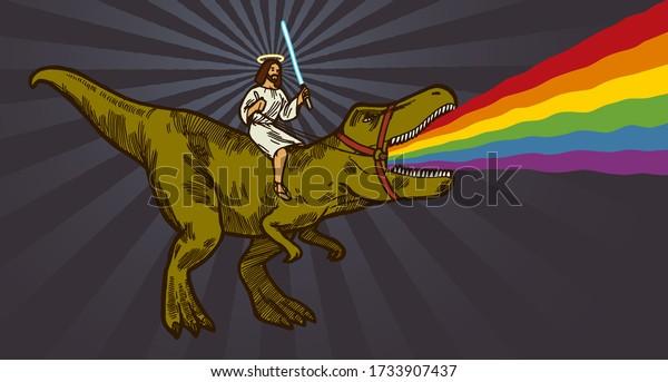 jesus-riding-trex-dinosaur-holding-600w-