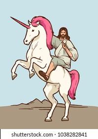 jesus riding unicorn - christian god on a magic horse
