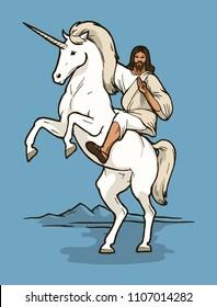 jesus riding unicorn - real christian god horse rider