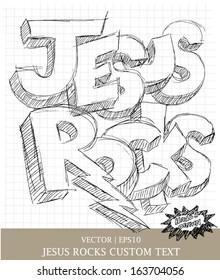 Jesus Rocks custom hand drawn religious art for Christian church vector | EPS10