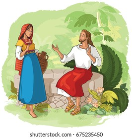 Jesus and the Samaritan Woman at the Well. Also available coloring book version