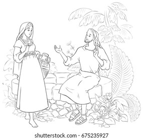 Jesus and the Samaritan Woman at the Well. Coloring page. Also available colored version