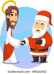 Jesus and Santa shake hands cartoon illustration