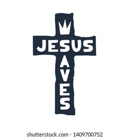 Jesus saves religious lettering brush illustration art design for Christian Bible church t-shirt, print, postcard.