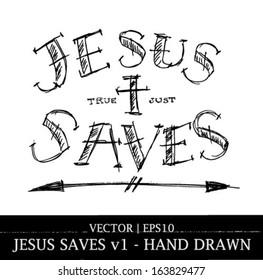 Jesus saves religious tattoo art design for Christian Bible church vector | EPS10