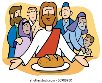 Jesus shares the bread