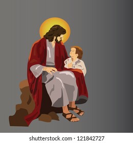 Jesus sitting with a child