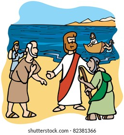 Jesus speaks to people in the lake while fishermen arrives by boat.