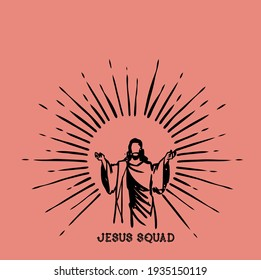Jesus Squad pink Vector You can use this jesus vector design on t-shirts and on walls