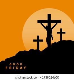 Jesus Three Crosses On Golgota Hill Illustration Vector. Good Friday
