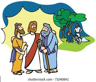 Jesus Transfiguration with Moses and Elijah