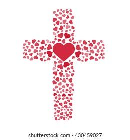 Jesus true love. Cross. Heart. Vector illustration