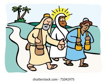 Jesus and two disciples road to Emmaus