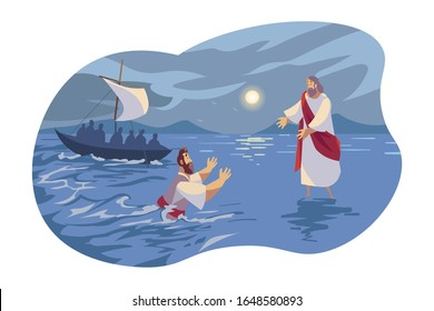 Jesus walks on water, Bible concept. Apostle Peter falling under water because of doubts. Picture of Jesus Christ son of god walking on water. Bible illustration in cartoon style. Vector flat design