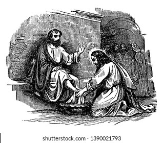 Jesus is washing the feet of Simon Peter at the last supper, vintage line drawing or engraving illustration.