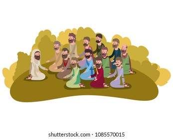 jesuschrist praying with apostles biblical scene