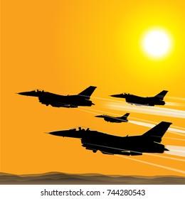 jet aircraft at sunset vector drawn