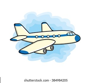 Jet airplane icon on a sky background.