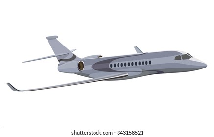 Jet airplane on a white background