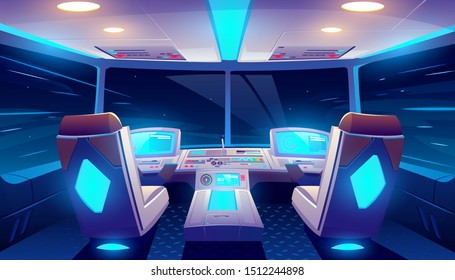 Jet cockpit at night, empty airplane cabin interior with seats for pilots, neon glowing flight deck with navigation monitors, control panel and starry sky view in windows. Cartoon vector illustration