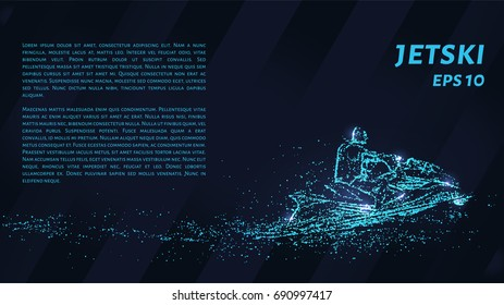 Jet is composed of pixels. Particles in the form of a jetski on a dark background. Vector illustration