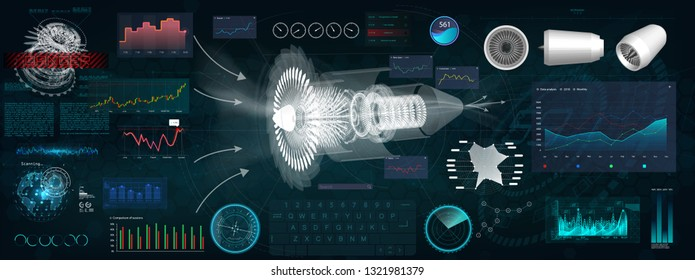 Jet Engine 3D isometric of Airplane in HUD style. Outline Style and Modern Interface Elements ( Dashboards Airplane, Scanning Jet engine and Mechanism) Industrial Blueprint. HUD Future Engineering