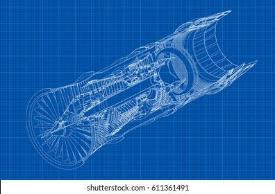 Jet engine isometrics on blue graph paper. Vector line illustration.
