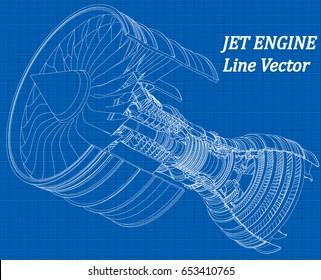Jet engine isometrics on blue graph paper. Vector line illustration.