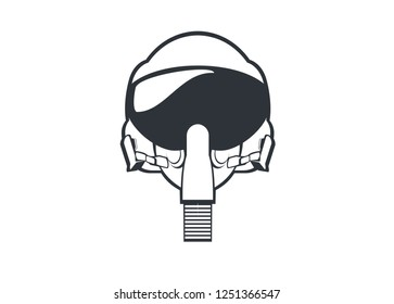 jet fighter pilot helmet simple line art illustration