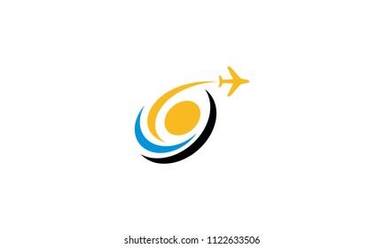 jet holiday plane swoosh logo icon vector