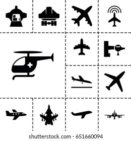 Jet icon. set of 13 filled jeticons such as plane, plane landing, jetway, cargo plane back view, luggage compartment in airplane