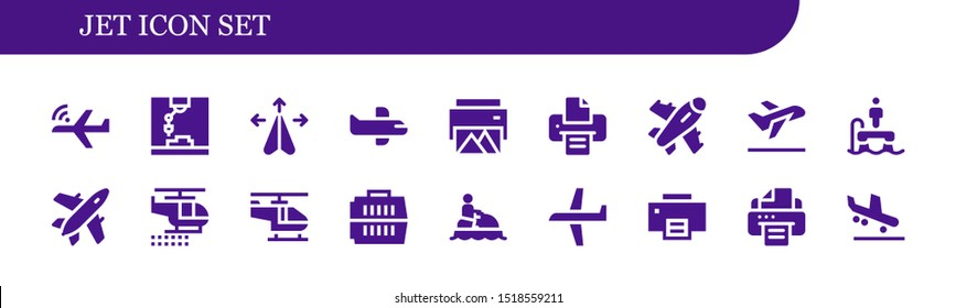 jet icon set. 18 filled jet icons.  Simple modern icons about  - Aeroplane, Printer, Plane, Airplane, Take off, Flyboard, Helicopter, Carrier, Jet ski, Arrival