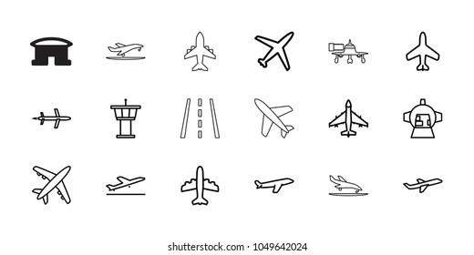 Jet icons. set of 18 editable outline jet icons: plane, plane taking off, airport tower, luggage compartment in airplane, runway, plane landing, jetway