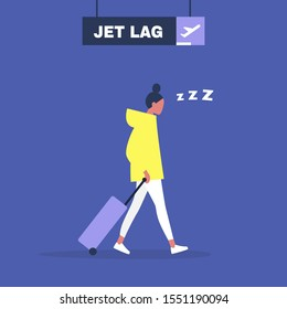Jet lag conceptual illustration, Young exhausted female character leaving the airport after flight
