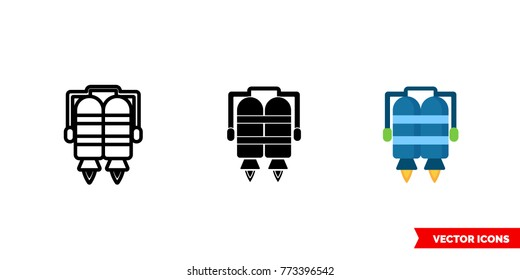 Jet pack icon of 3 types: color, black and white, outline. Isolated vector sign symbol.