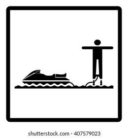 JET SKI FLYBOARD. Sign. Water