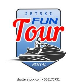 Jet Ski fun tour rental logo, isolated on white background.