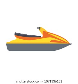 jet ski icon isolated on white background. Summer rest. Sea vacation. Vector illustration in flat design.