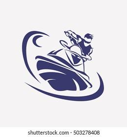 jet ski stylized vector symbol,  rider on jet ski silhouette, logo or emblem template