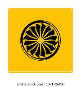 jet turbine, wind blade icon in yellow background