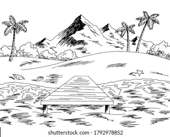 Jetty sea pier coast graphic beach black white landscape sketch illustration vector