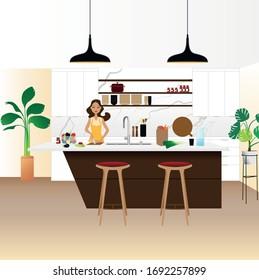 jeune femme jeune fils repas dans sa cuisine moderne et design