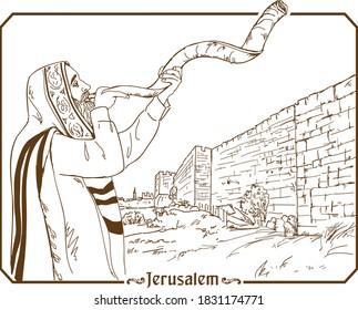 Jew in tallit blowing the shofar of Rosh Hashanah. Hand drawing illustration.