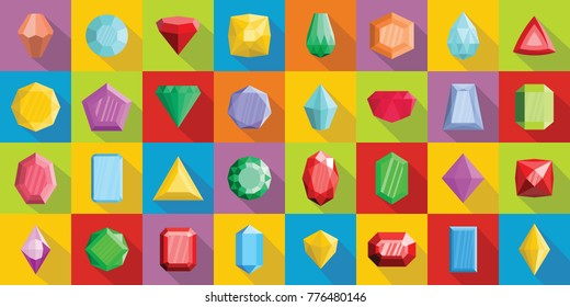 Jewel icons set. Flat illustration of 32 crystal jewel vector icons for web