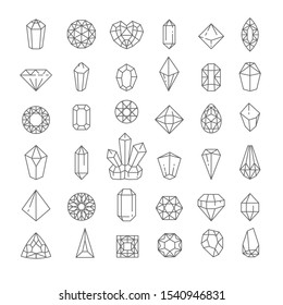 Jewel quartz or crystal isolated linear icon vector. Treasure gems, mineral outline signs, ruby and sapphire, topaz and emerald. Amethyst, diamond and brilliant, heart and rhombus or pyramid shape